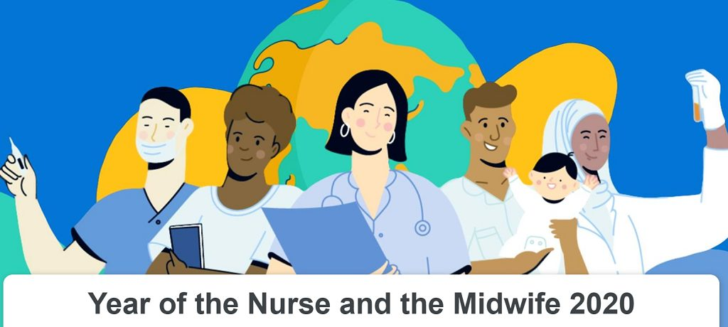 Illustration of several medical professionals for 2020- WHO year of the Nurse and Midwife